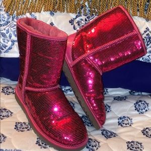 Ugg Pink Sequin Classic Boots Size 8